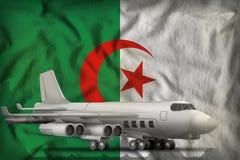 在阿尔及利亚州旗子背景的轰炸机 3d?? 库存例证