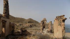 在阿尔梅里雅西班牙的海岸的废墟 库存图片