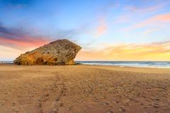 在阿尔梅里雅附近的Monsul海滩 库存照片