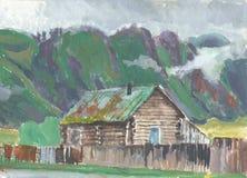 在阿尔泰山的村庄 免版税库存图片