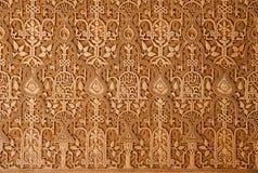 在阿尔罕布拉宫宫殿墙壁上的装饰品  免版税库存图片
