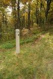 在阿巴拉契亚足迹的一个足迹标志 库存照片
