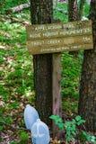 在阿巴拉契亚足迹的与信息有关的标志在西南弗吉尼亚-2 库存照片