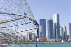 在阿布扎比的看法从钓鱼海港 免版税库存照片