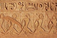 在阿布格莱布Simbel伟大的寺庙墙壁上的古老象形文字, 免版税库存照片