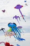 在阿德莱德国际风筝节日的飞行风筝 免版税库存照片