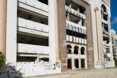 在阿拉伯春天期间被破坏的民主党宪法集会党建设在斯法克斯,突尼斯 免版税库存照片