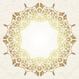 在阿拉伯主题的花卉框架背景 免版税库存图片