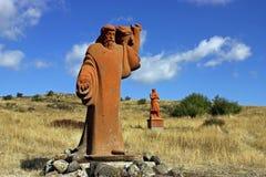 在阿拉加茨山的雕象 免版税库存照片