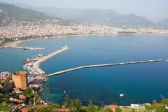 在阿拉尼亚半岛,安塔利亚区,土耳其,亚洲的Kizil Kule塔 免版税库存图片