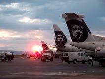 在阿拉斯加的航空公司行的令人敬畏的日落飞行 免版税库存图片