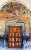 在阿拉韦尔迪修道院入口的壁画阿拉扎尼河谷的 卡赫季州地区 佐治亚 库存图片