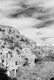 在阿曼山老被放弃的村庄曲拱房子和分类 免版税库存照片