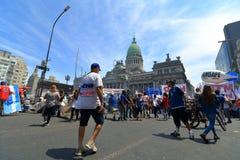 在阿根廷国会的工作者抗议 免版税库存图片