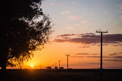 在阿根廷的领域的日落 库存图片