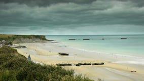 在阿罗芒什,法国的攻击开始日海滩 影视素材