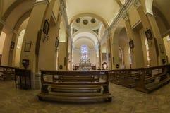 在阿西西,意大利的教会内部 免版税库存照片