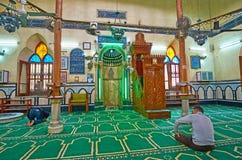 在阿訇Al Busiri清真寺,亚历山大,埃及 免版税库存图片