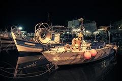 在阿雅克修停泊的小木渔船 免版税库存照片