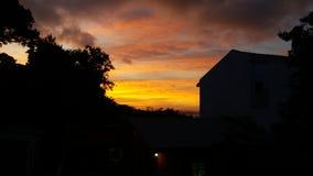 在阿雷格里港的日落,在巴西南部 免版税库存照片
