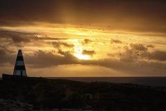 在陆岬的日落在长袍,南澳大利亚 免版税库存照片