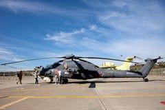 在陈列区的俄国军事直升机Ми-28Ð  免版税库存照片