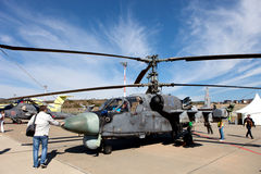 在陈列区的俄国军事直升机钾52 库存图片