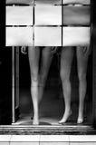 在陈列室的时装模特腿 库存图片