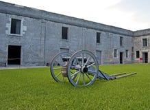 在陈列的老大炮 图库摄影