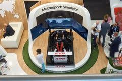 在陈列的Motorsport模拟器 免版税库存图片