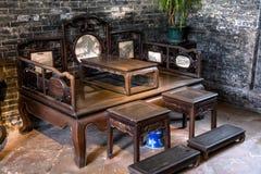 在陈家祠里面,恢复了老材料,广州地区、明代和清朝,一般家庭bedro 免版税库存照片