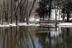 在降雪以后的池塘 图库摄影