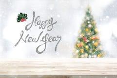 在降雪的欢乐台式背景 免版税图库摄影