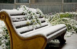 在降雪的老牌长凳 库存图片