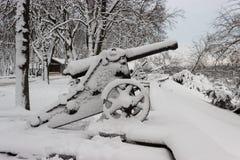 在降雪的风暴以后的老大炮 库存图片