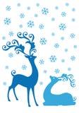 在降雪,传染媒介的圣诞节鹿 免版税图库摄影