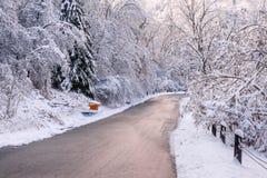 在降雪以后的冬天路 图库摄影