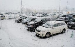 在降雪以后的Waterdrops在车窗 免版税库存照片