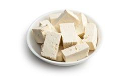 在陶瓷碗的豆腐 免版税图库摄影