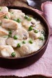 在陶瓷碗的鸡和蘑菇炖煮的食物 库存图片