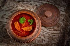 在陶瓷罐的蔬菜汤在土气木背景 库存照片
