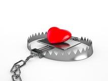 在陷井的红色心脏,隔绝在白色背景 库存图片