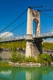 在隆河的Old Passerelle du College桥梁在利昂,法郎 库存照片