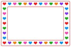 在隔绝的五颜六色的心脏照片框架 免版税库存图片
