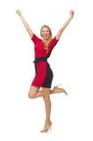 在隔绝的红色黑礼服的美丽的夫人 免版税库存图片