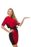 在隔绝的红色黑礼服的美丽的夫人 库存图片