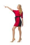 在隔绝的红色黑礼服的美丽的夫人 免版税图库摄影