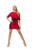在隔绝的红色黑礼服的美丽的夫人 库存照片