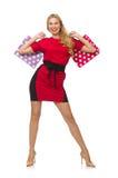 在隔绝的红色黑礼服的美丽的夫人 图库摄影