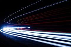 在隧道的光足迹 艺术图象 被拍的长的曝光照片  免版税库存照片